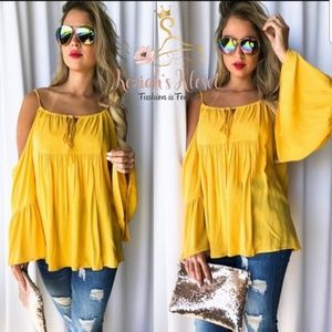 NEW Mustard off the shoulder top